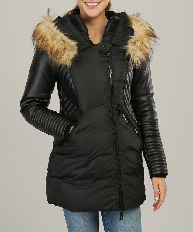 faux fur hood parka with contrast sleeve - wb, BLACK, hi-res