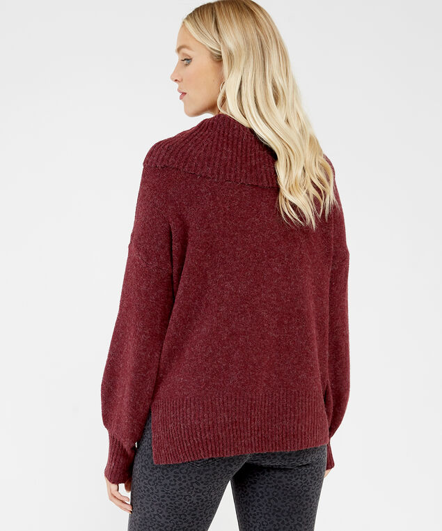 cowl neck sweater - wb, Wine, hi-res