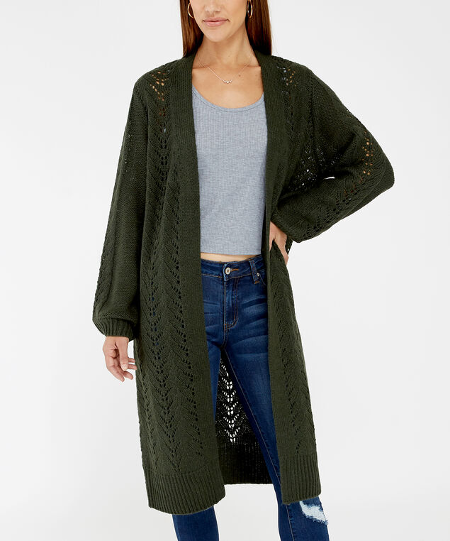 pointelle cardigan - wb, GREEN, hi-res