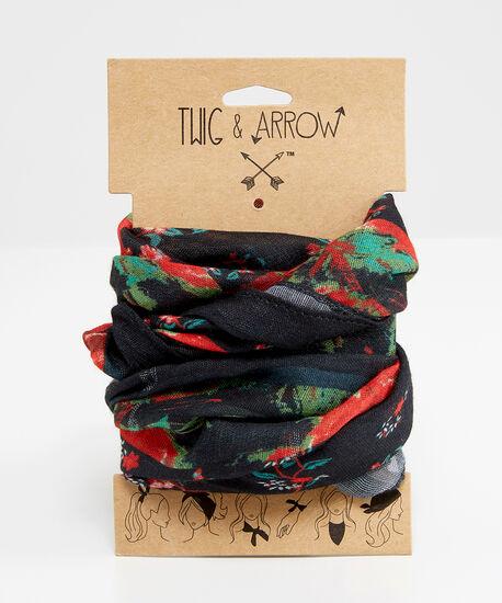 floral versatile scarf, RED FLORAL, hi-res