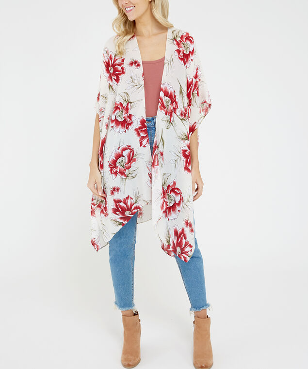 floral kimono, Light Yellow, hi-res