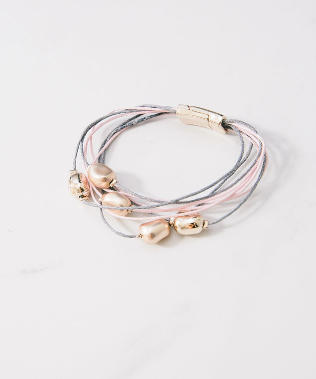 6 strand bracelet with incandescent beads, Rose, hi-res