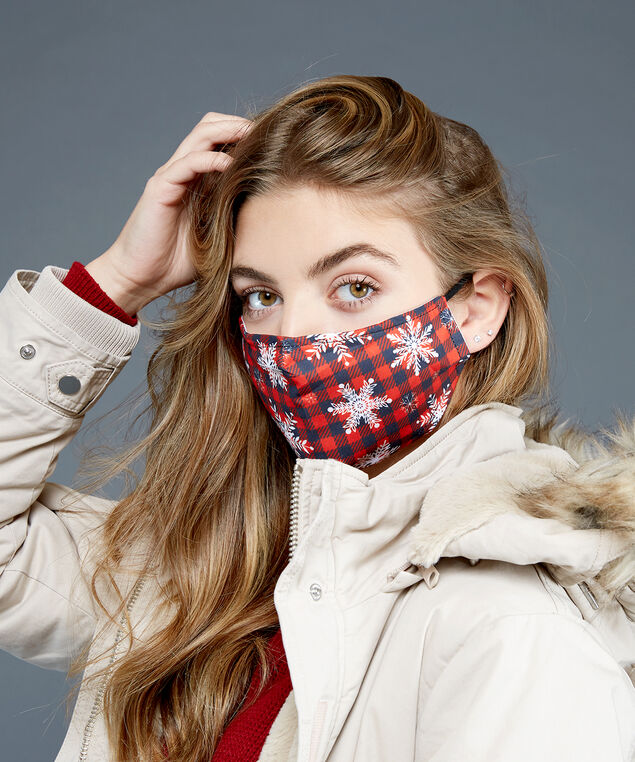 plaid snowflake mask, Red, hi-res