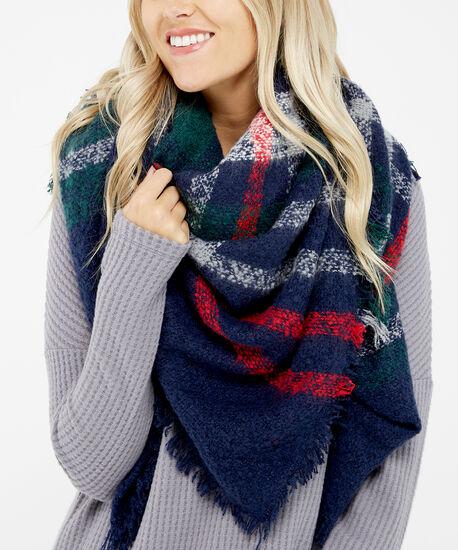 square blanket scarf, NAVY, hi-res
