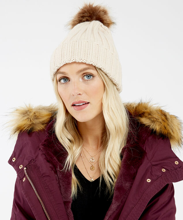 cable knit beanie with fur pom, Natural, hi-res