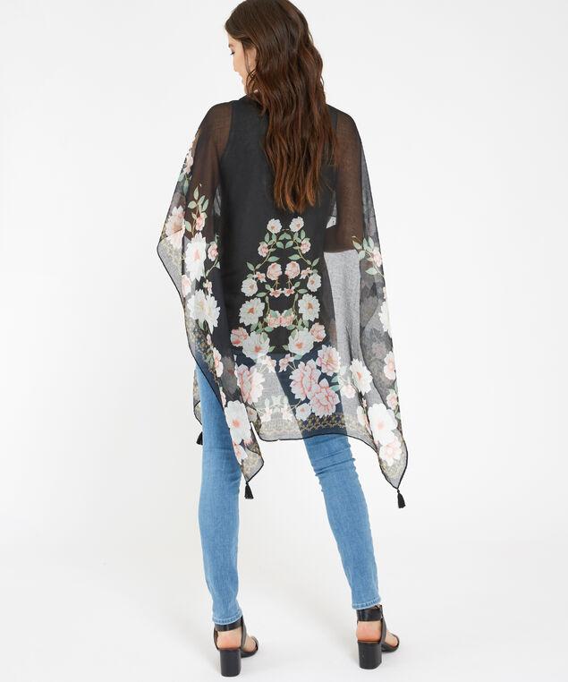 floral kimono with tassel, BLACK COMBO, hi-res