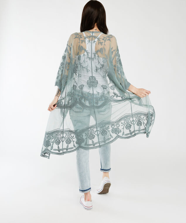 long sleeve embroidered kimono, Green