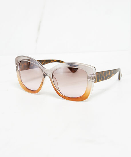 square frame sunglasses, brown/clear, hi-res
