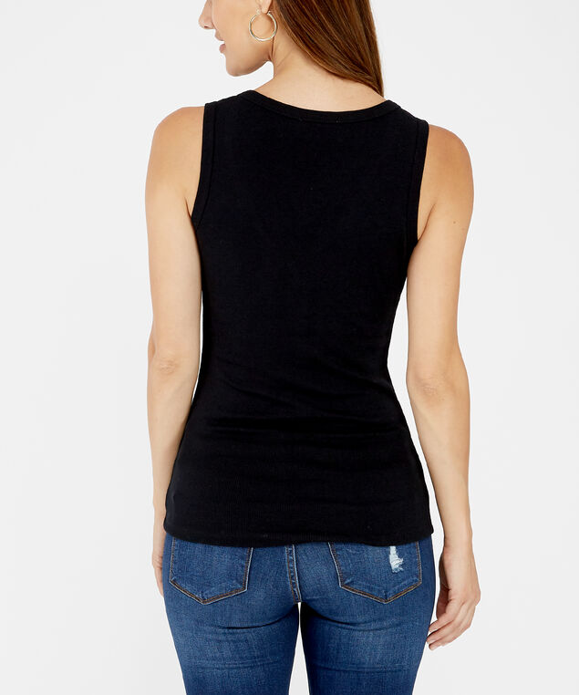 ribbed henley tank, BLACK, hi-res