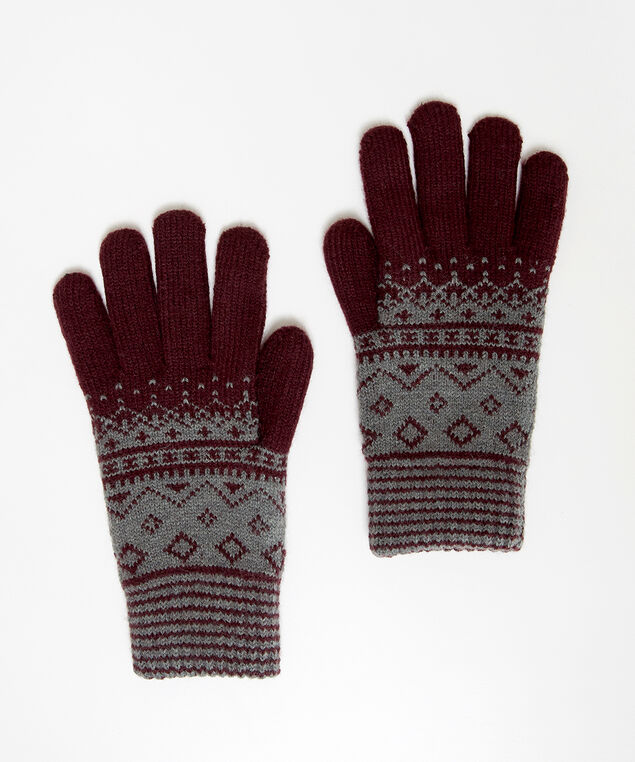 fairisle gloves, WINE/GREY, hi-res