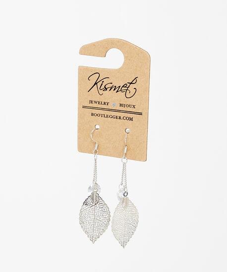 dangle leaf earrings, Silver, hi-res