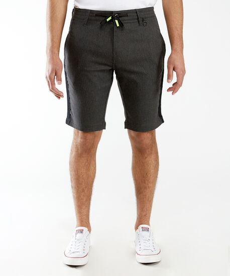 contrast drawstring waist short, Black, hi-res