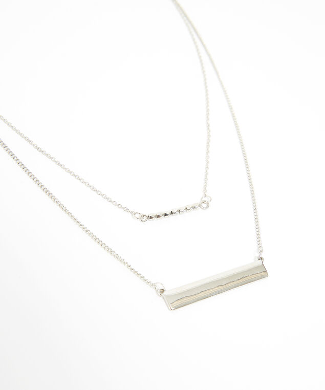 double strand bar necklace, SILVER, hi-res