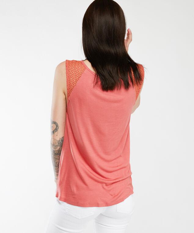 crochet shoulder tank top, Melon