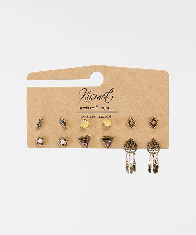 multi pack stud earrings, GOLD, hi-res
