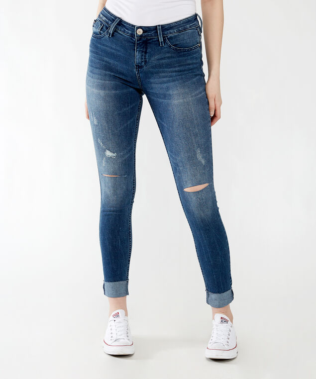 mid-rise skinny with cuffed hem,