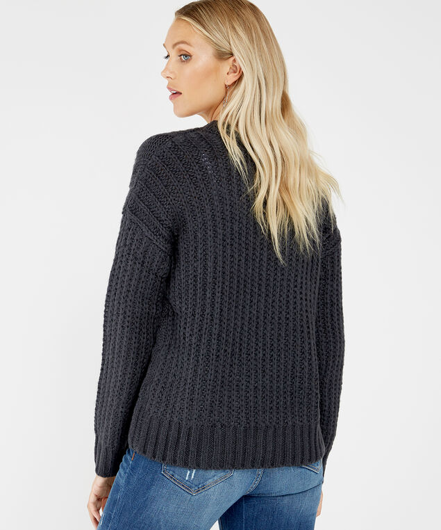 cable knit cardigan - wb, CHARCOAL, hi-res
