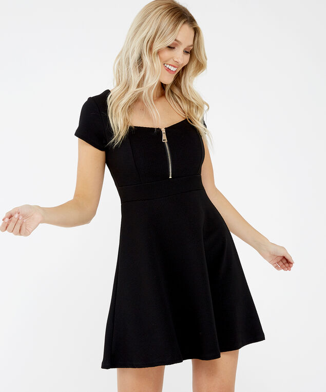 fit & flare dress - wb, Black, hi-res