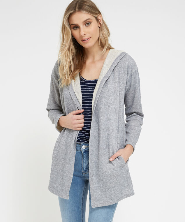 open fleece cardigan, GREY TWIST, hi-res