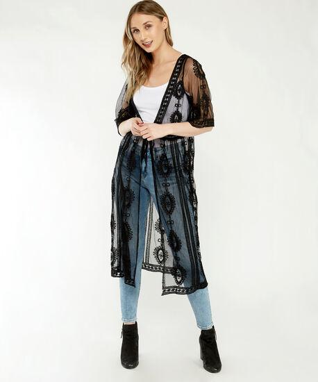 mesh kimono, Black, hi-res