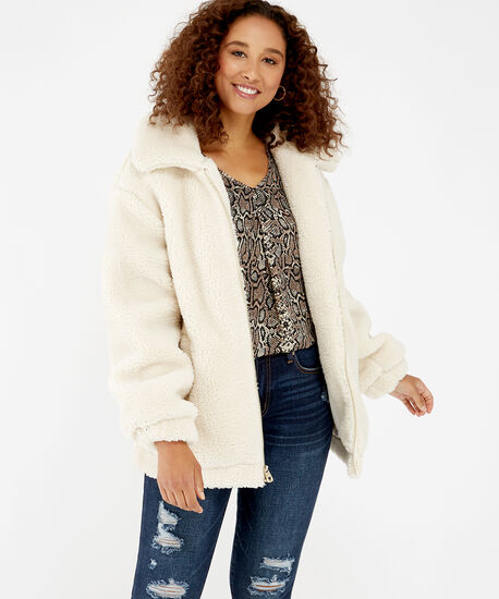 teddy jacket - wb, Cream, hi-res