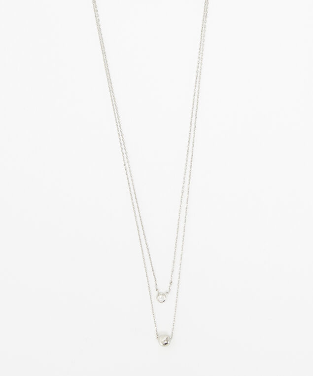layered diamante necklace, SILVER, hi-res