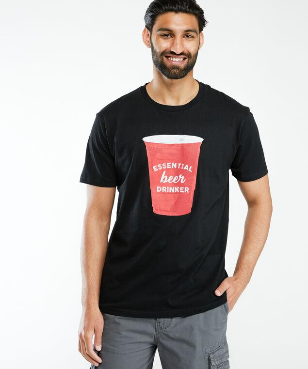 essential beer drinker printed tshirt, Black