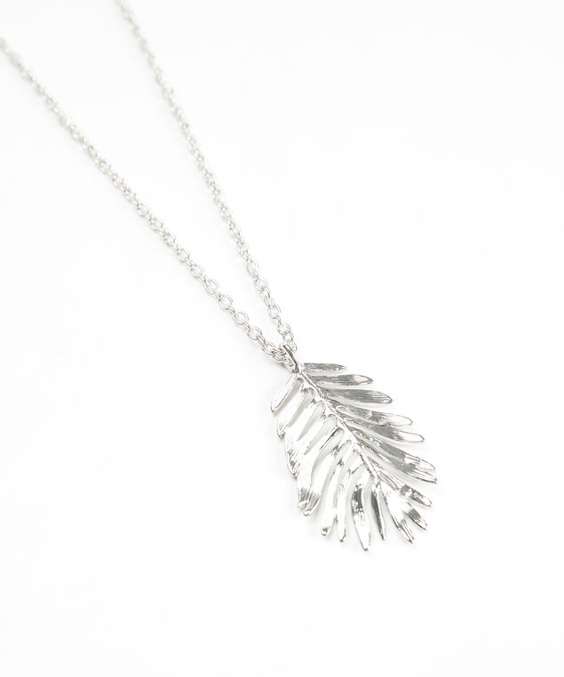 long feather pendant necklace, Silver