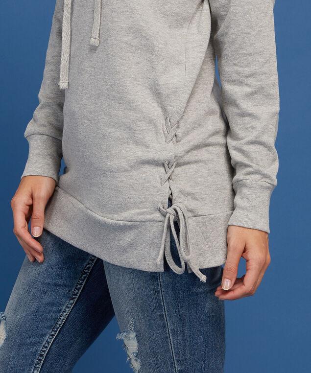 long hooded pullover - wb, GREY, hi-res