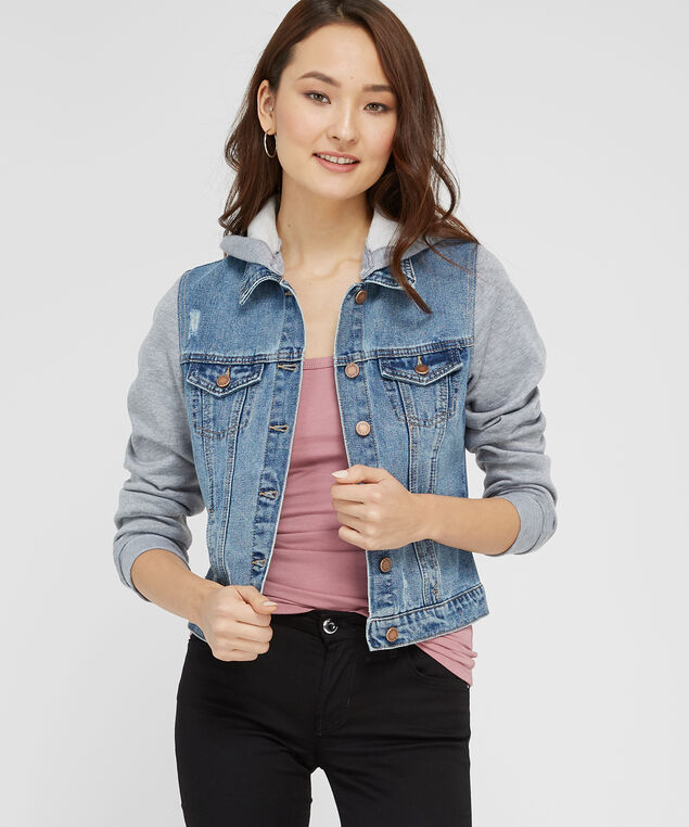 537eb56d4ea195 ... denim jacket with knit sleeves