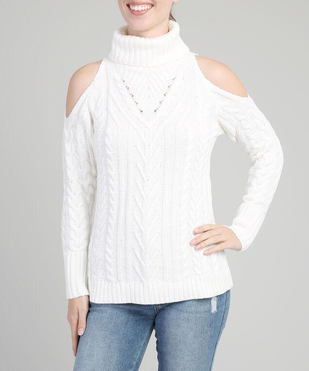 cold shoulder cable knit popover, WHITE, hi-res