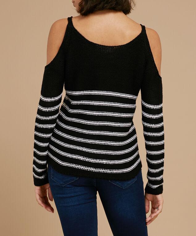 cold shoulder striped sweater - wb, BLACK, hi-res