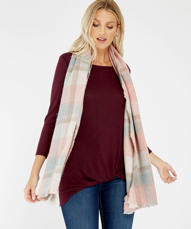 pink blanket plaid scarf, Pink, hi-res
