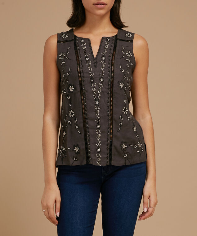 sleevless top with embroidery - wb, CHARCOAL BEAD, hi-res