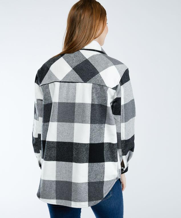 plaid shirt jacket, Black White Buffalo Check