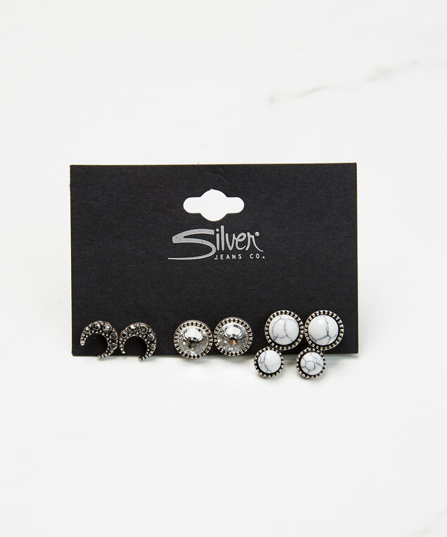3 pack stud earrings, Silver, hi-res