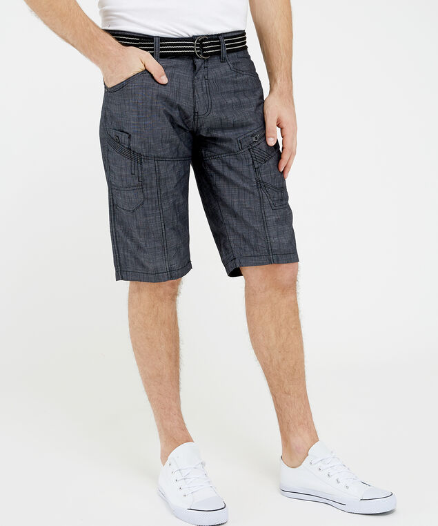 belted cross hatch short - wb, Black, hi-res