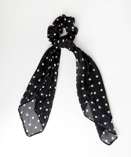 chiffon scrunchie hair scarf - wb, BLACK DOT, hi-res