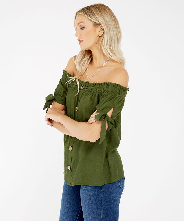off the shoulder top - wb, Green, hi-res