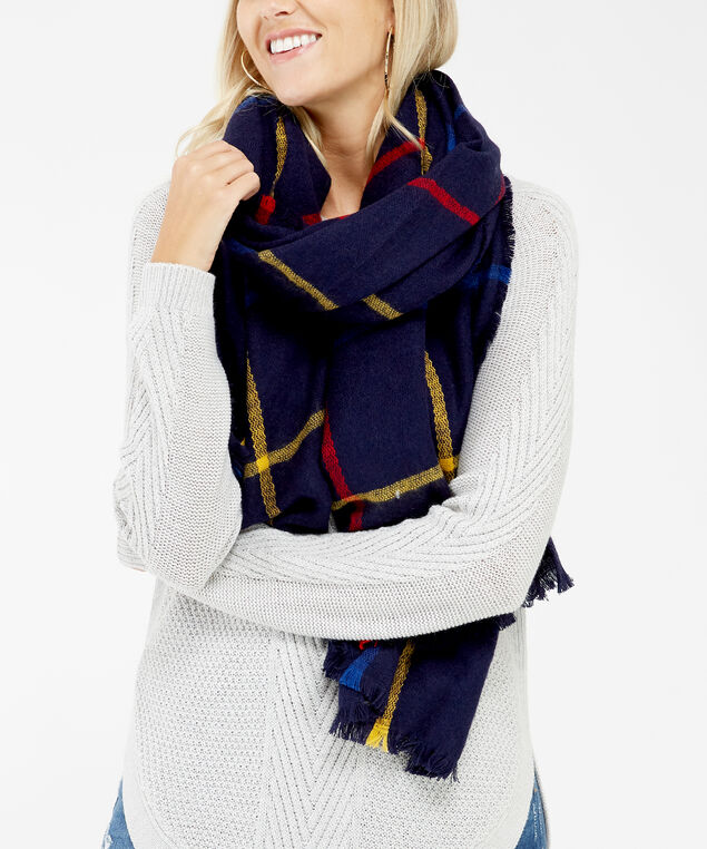 navy check scarf, Navy, hi-res