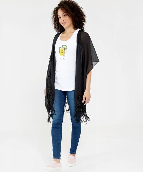 lace crochet trim kimono, BLACK, hi-res