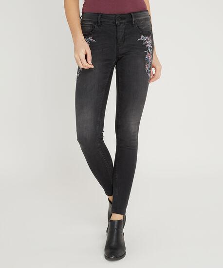 skinny black embroidery, , hi-res