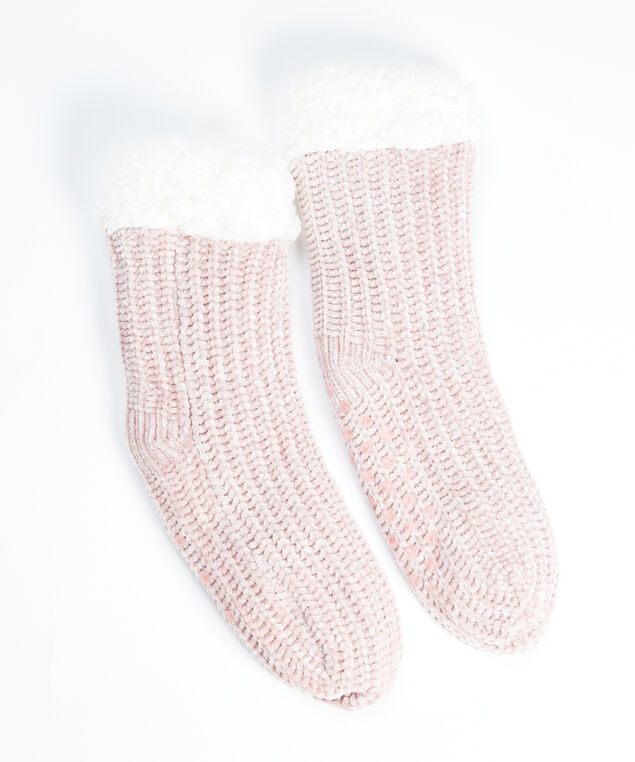chenille slipper sock, Pink