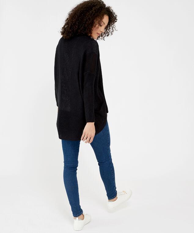 drape cardigan with patch pockets - wb, BLACK, hi-res