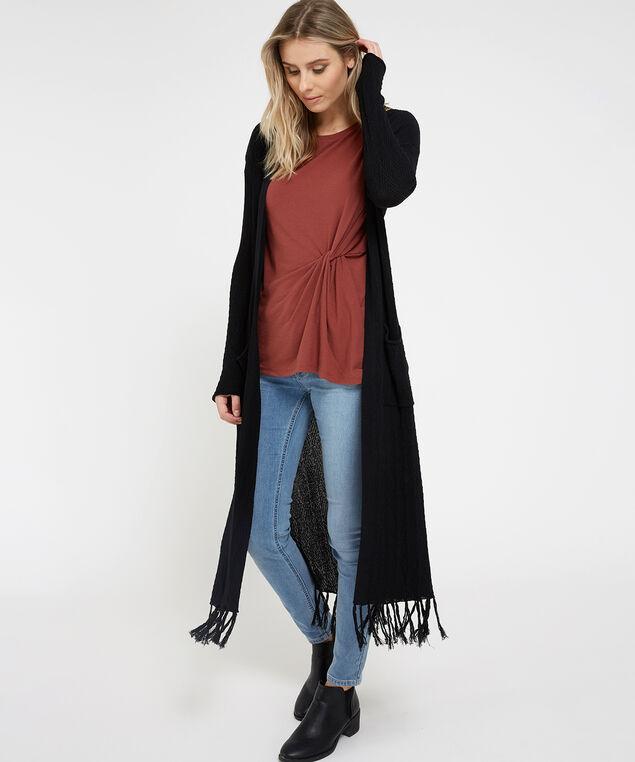 long fringe cardigan - wb, BLACK, hi-res