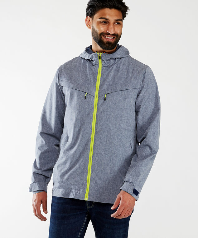 contrast rain jacket, Blue
