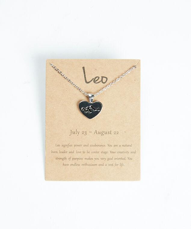 leo zodiac necklace, Silver