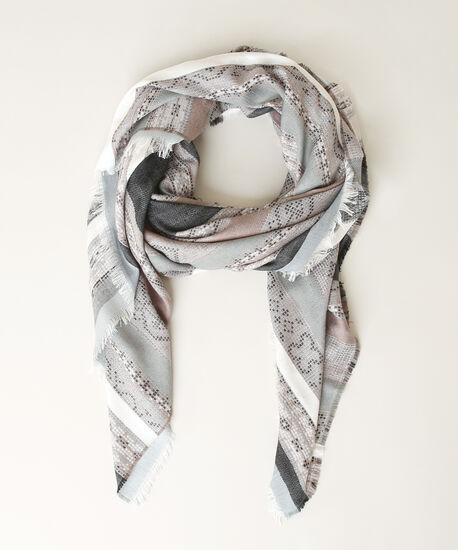 jacquard print scarf, WHITE/GREY, hi-res