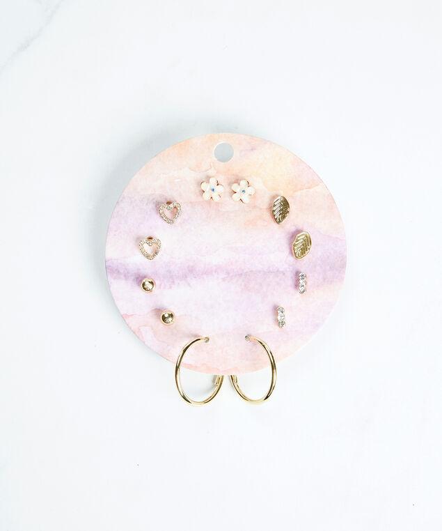 multi pack earrings, Gold
