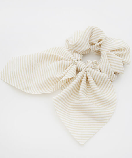 scrunchie with short tail - wb, NAT STRIPE, hi-res